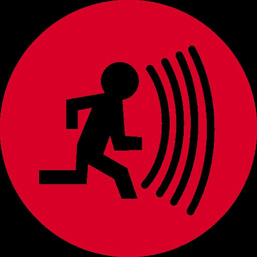 person-running-with-alarm-sound-circular-symbol
