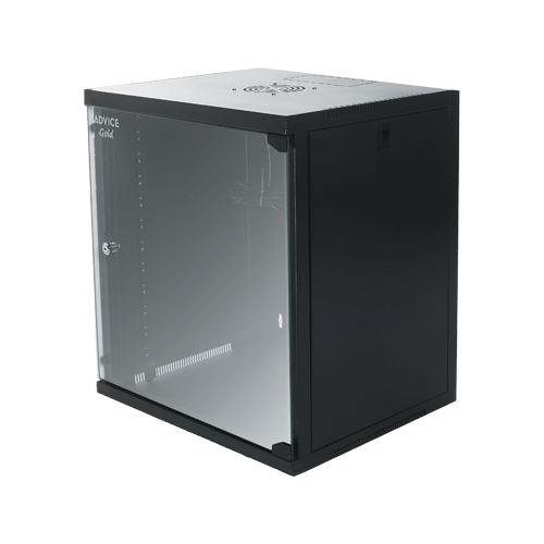 ארון תקשורת 15U לתליה דלת קדמית זכוכית מחוסמת